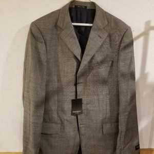 NWT 46L Yves Saint Laurent Sport Coat Gray Plaid